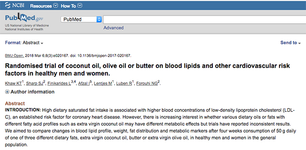 study on coconut oil and other fats
