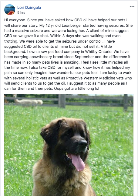 cbd testimonial from cbd for pets facebook page