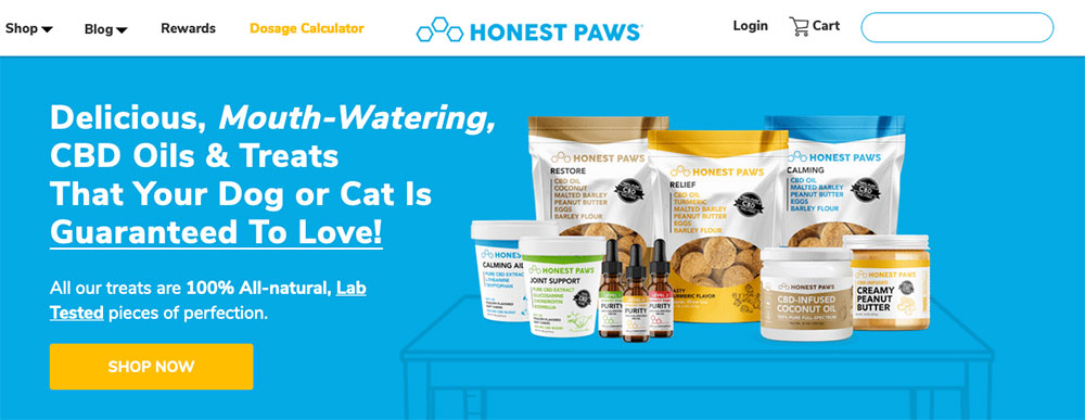 screenshot of the homepage of Honest Paws