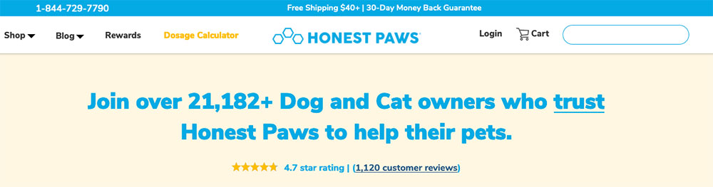 screenshot of the review section on the homepage of honest paws
